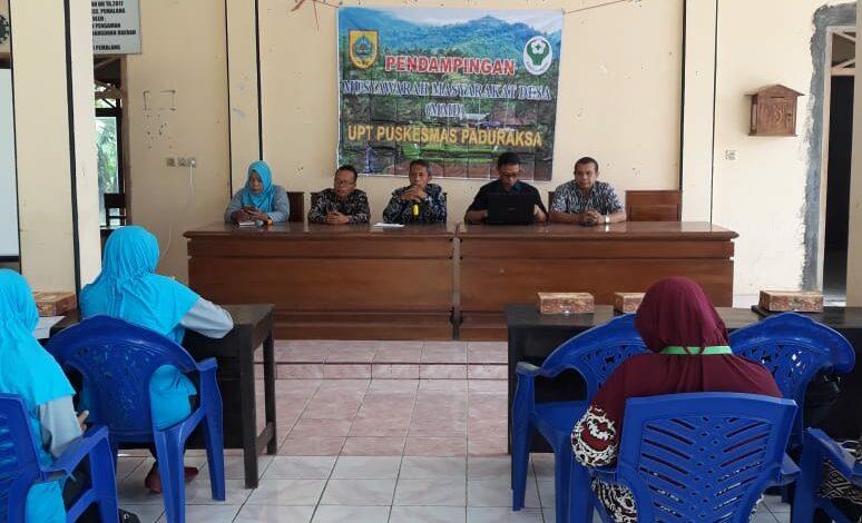 PENDAMPINGAN MUSYAWARAH MASYARAKAT DESA ( MMD ) UPT PUSKESMAS PADURAKSA